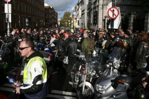 Irish Bikers storm government buildings