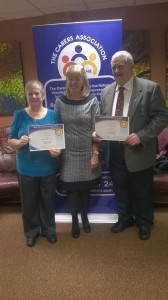 Mary Dunne, Offaly's Carer of the Year 2014, Alison Hackett, The Carers Association, and Michael Mulloy, Laois Carer of the Year 2014