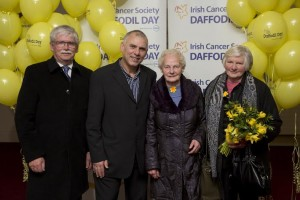 Volunteers from Birr, Co. Offaly , pictured with Rugby star Tony Ward at the national launch of the Irish Cancer Society's 28th Daffodil Day 2015, supported by Dell, from left to right; Frank Jackson, Kay Eades and Mary Garahy.