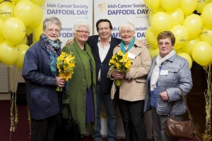Volunteers from Clara, Co Offaly, pictured with GAA Pundit Marty Morrissey at the national launch of the Irish Cancer Society's 28th Daffodil Day 2015, supported by Dell, from left to right; Mary McRedmond, Mary Scully, Patricia O'Meaghar, Angela Sheridan.