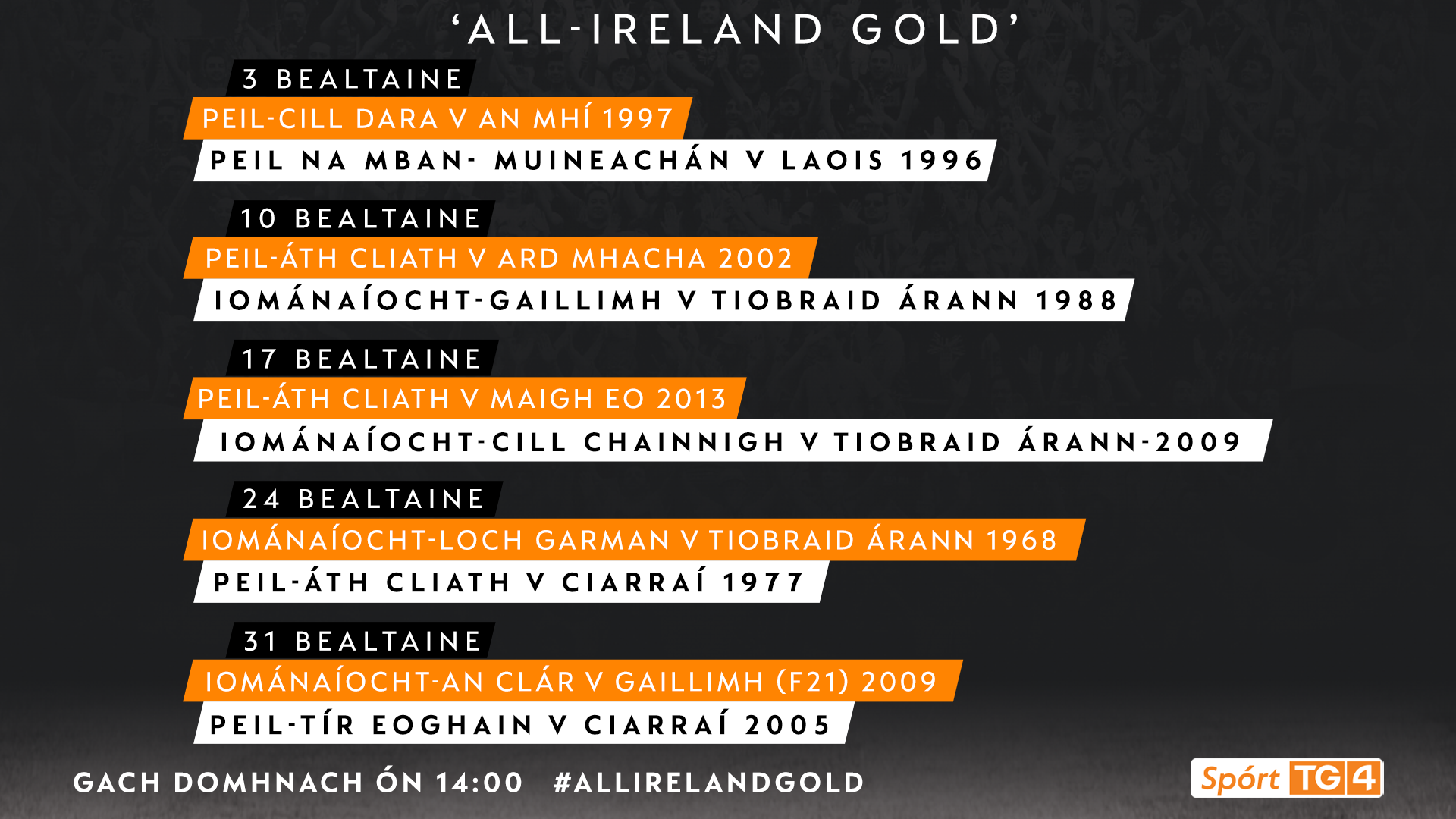 Another month of classic matches ahead as TG4 announce All Ireland Gold schedule for May #AllIrelandGold