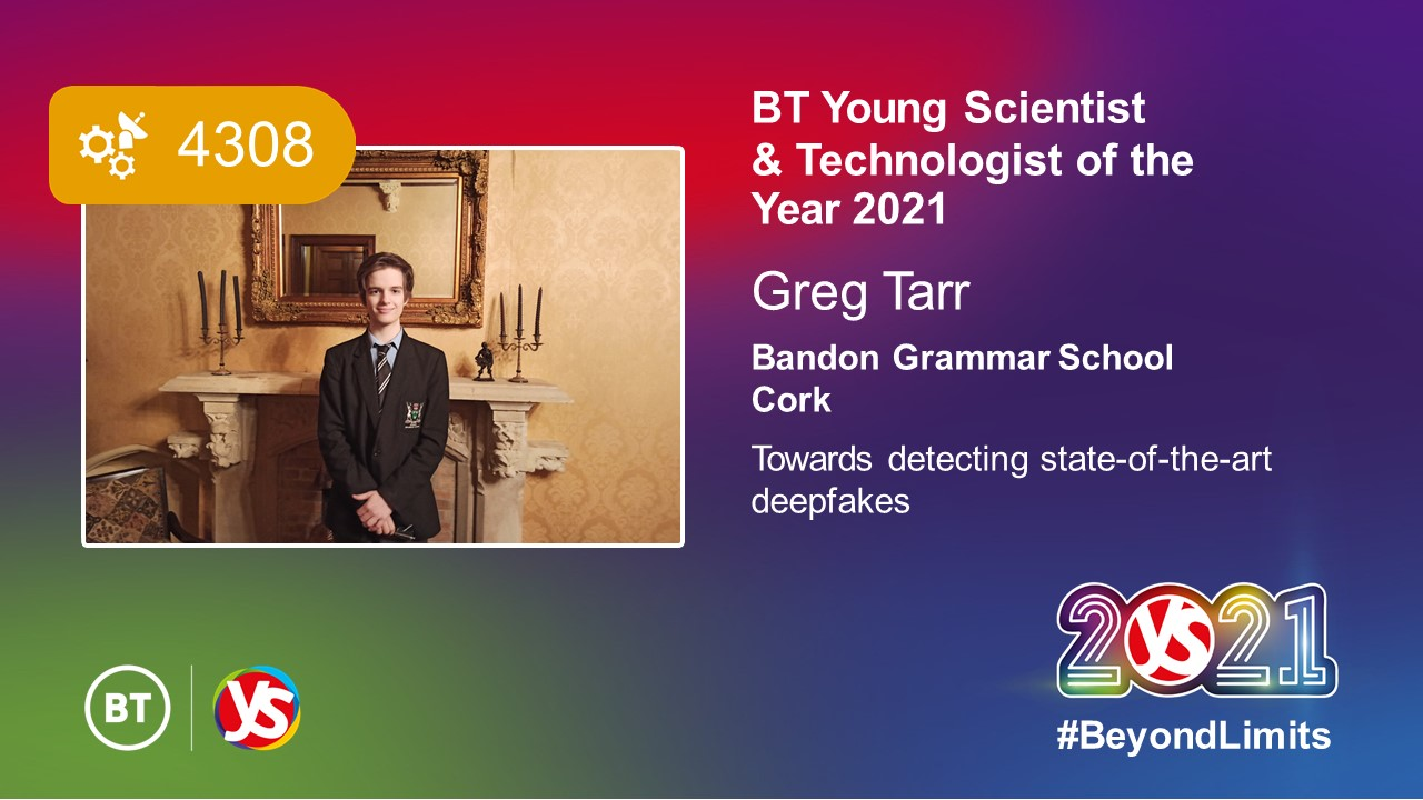Gregory Tarr announced as winner of the 57th BT Young Scientist & Technology Exhibition