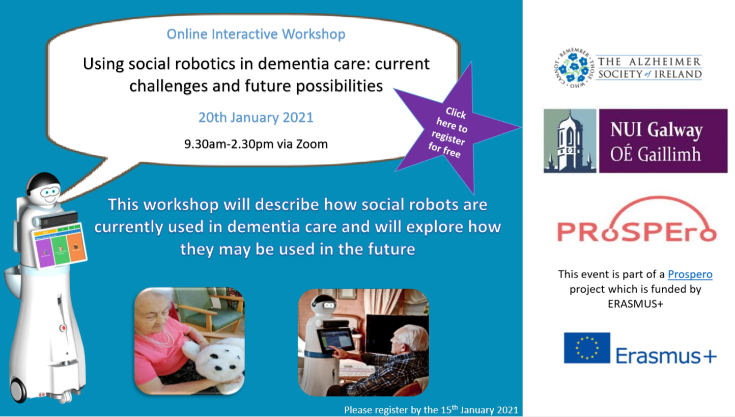 Alzheimer Society of Ireland hosting free online workshop on how social robots can be used in dementia care – now and in the future
